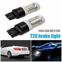 2X T20 580 W21/5W LED Dual Filament Brake Stop Tail Light Bulb Globe White 12V