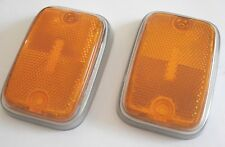 FRONT SIDE MARKER LENS AMBER SILVER TRIM PAIR LEFT RIGHT VW BUS 70-76 211945119A
