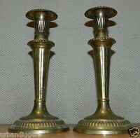 9435/ Vintage Pair of Art Deco Brass Candlesticks ~ Matching Candle Stick