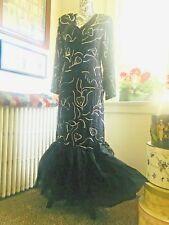 Vintage 70s 80s India Silk Chiffon Beaded Mermaid Bow Cocktail Party Dress M L