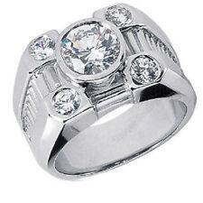 2.01 ct center ROUND DIAMOND Engagement Solitaire Mens 14k Ring ,25 gram, H-SI1