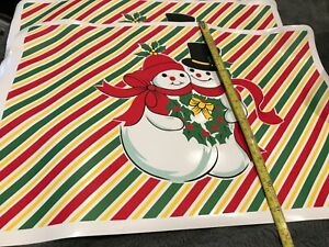 Vintage 80s Christmas Vinyl Table Placemats X 4
