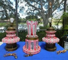 Antique Heavy Lead Crystal Cranberry/White Table Lamps & Matching Vase