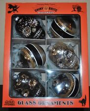 NEW SHINY BRITE HALLOWEEN RADKO Glass ORNAMENT Set/6 3 SKULL 3 Ball Black Gold L