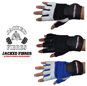 LEATHER GYM GLOVES FITNESS WEIGHT LIFTING TRAINING BODYBUILDING WRIST WRAP