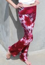 Burgundy Tie Dye Yoga Pants Hand Dyed in the US All Sizes available XXS-6XL