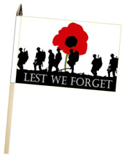 Lest We Forget British Army Poppy Large Hand Waving Courtesy Flag