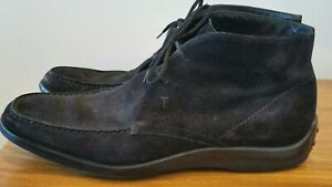 $675 TOD'S Black Nubuck Leather Chukka Ankle Boots Driving Shoes Mens 8.5 US 9.5