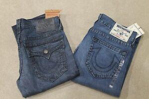 True Religion Men's Medium Dark Blue Jeans Straight Leg Regular Fit Brand New