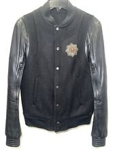 Balmain Bomber Jacket With Leather Sleeves And Embroidery Size 44