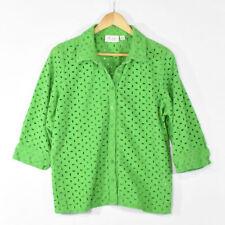 Denim & Co. Women's Green Eyelet Button Down Shirt Blouse LARGE