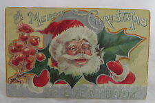 Antique Merry Christmas Postcard Very Happy Smiling Santa Claus Holly&Berry