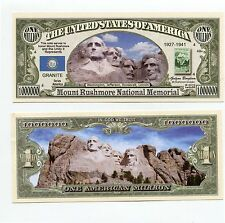 Mount Rushmore Memorial   set 5 million dollar bill s