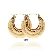 18k Layered Real Gold Filled Round bamboo Hoop Earring #51