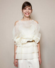 "Chloe Silk Organza Ruffle Top in ""Milk"" White Size 34 0 2 XS - MSRP $2,695"