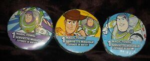 (3) Disney Magic Towels 11.5 in x 11.5 in Toy Story Buzz Lightyear Woody NEW