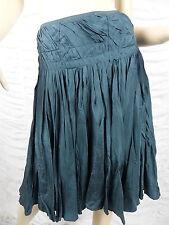 TOKITO bottle green 100% silk heavy pleated full A-line skirt size 12 EUC