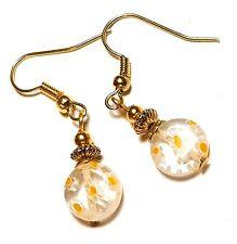 Short Gold Yellow White Millefiori Earrings Glass Bead Drop Dangle Pierced Hook