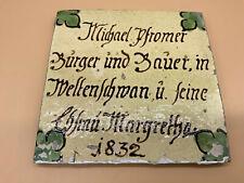 ANTIKE BIEDERMEIER KACHEL BAUERN-FLIESE 19-TES JHDT KERAMIK 1832