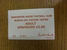1980-1990's Ticket: Manchester United - Museum & Visitors Centre, Adult Admissio