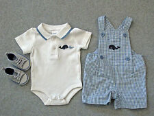 Gymboree Brand New Baby 3pc Set S 0-3 m Whale Shortall Polo Bodysuit Crib Shoes