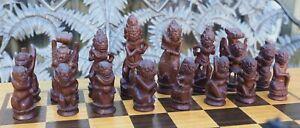 Early c20th Indonesian Balinese Bali Hindu Deities Ramayana Wooden Chess Set