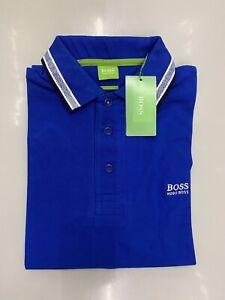 Mens Hugo Boss Royal Blue Polo Shirt Short Sleeves Slim Fit Size Small