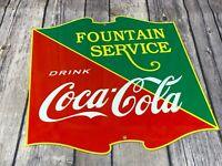 """VINTAGE DRINK COCA-COLA 12"""" METAL ADVERTISING SODA FOUNTAIN POP DRINK SIGN"""