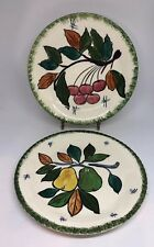 """PV France Hand Painted Fruit Plates 8 1/4"""" Vintage Cherry Pear 2D"""
