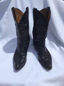 Vintage Tony Lama Cowboy Boots Black Leather, Mens 11 1/2 D