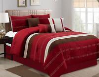 7Pcs Oversized Luxury Printed Soft Microfiber Comforter Sets ,Burgundy,King Size