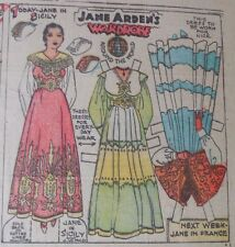 Jane Arden Sunday with Large Uncut Paper Doll from 11/19/1933 Full Size Page!
