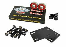 "Owlsome Abec 7 Precision Skate Bearings w/ 1.0"" Hardware 1/8"" Riser Pads Spacer"