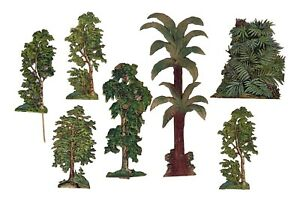7 Bäume aus geprägter lithografierter Pappe, ~ 1900 - Krippenzubehör  (# 14918)