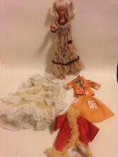 Barbie Vintage pizzo abiti in pelle pelliccia 60 S Arancione ABITI MATTEL
