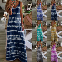 Womens Boho Tie-Dye Summer Holiday Long Dress Lady Party Maxi Strappy Sundress