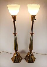 Matching Pair of Rembrant Torchiere Table Lamps Solid Brass w/ Enameling Unusual