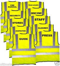 Hi Vis Printed Vest Yellow - Fire Marshal Staff Inspector Press Security Cleaner