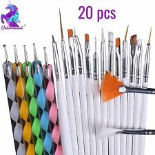 20pcs Nail BRUSH SET Dotting Acrylic UV Builder Gel Polish Art Painting KIT UK