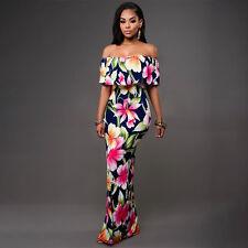 Womens Floral Long Maxi Dress Boho off Shoulder Bodycon Summer Evening Party