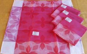 NWT Le Jacquard Francais Set of 4 Napkins 20 X 20 Retro Pop Rose Pink