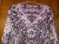 Kiara XXL Black & White Sublimation 3/4 Sleeve Top Embellished With Sequins