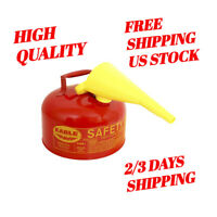 2 Gallon Safety Gas Can, Eagle UI-20-FS Red Galvanized Steel Type I, Funnel