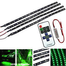 "Wireless Control + 4x Motorcycle 12"" 3528 SMD LED Light Strip Green For Kawasaki"