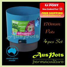 170mm Self Watering Plastic Garden Pots - 4pcs / Indoor & Outdoor - Made in AU