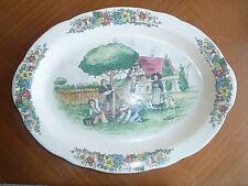 Antiguo gran plato de cerámica decoración campagne Alsacia domaine Fougerac
