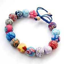 Flower Design Polymer Clay Tibet Buddhist Prayer Beads Mala Bracelet