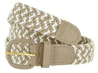 Women's Leather Covered Buckle Woven Elastic Stretch Belt New Beige/White Weave