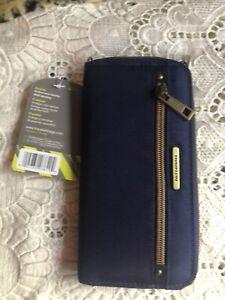 """Travelon RFID Navy Blue Blocking Zip Around Wallet Credit Card Safety 4x7.5"""" New"""