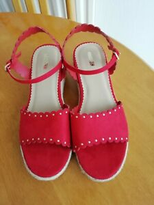 Next red wedge sandals Size 7.